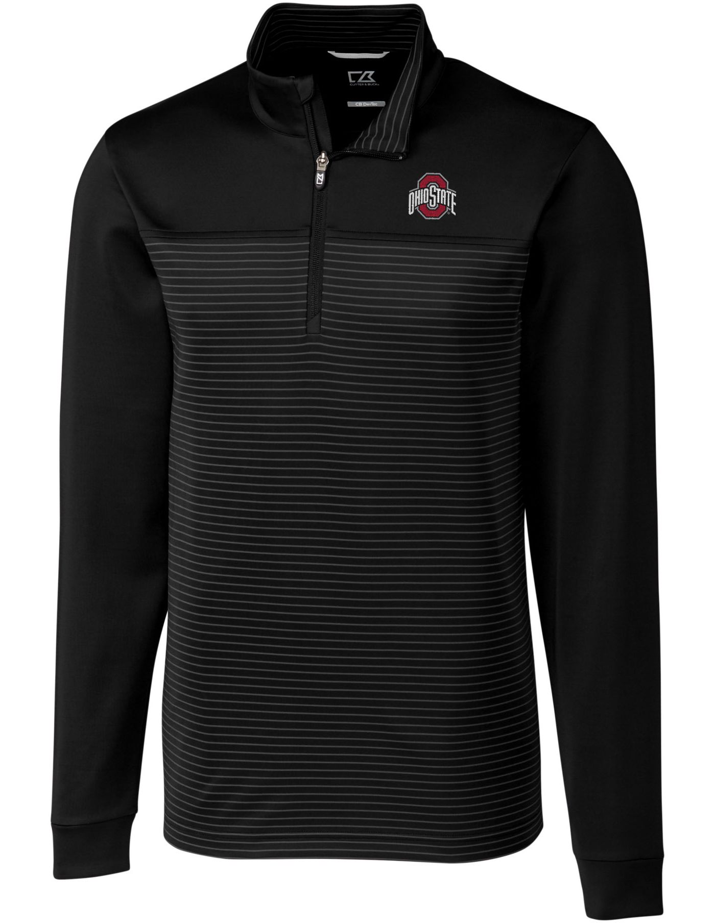 Cutter & Buck Men's Ohio State Buckeyes Traverse Stripe Half-Zip Black Shirt