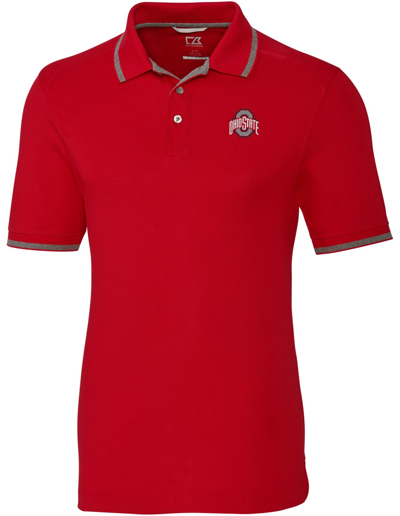 Cutter & Buck Men's Ohio State Buckeyes Scarlet Advantage Tipped Polo