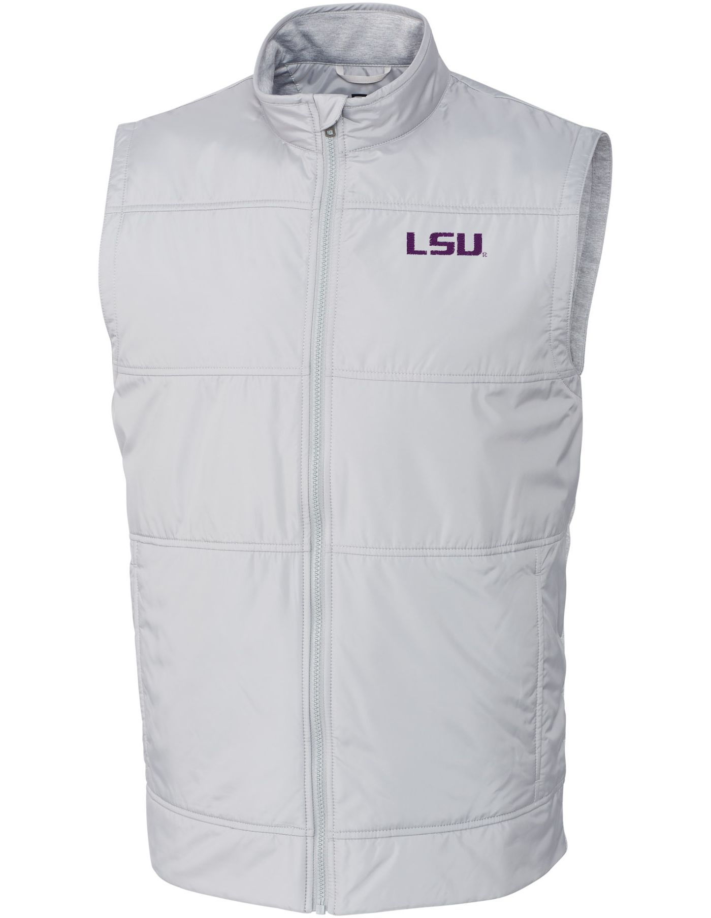 Cutter & Buck Men's LSU Tigers Grey Stealth Full-Zip Vest