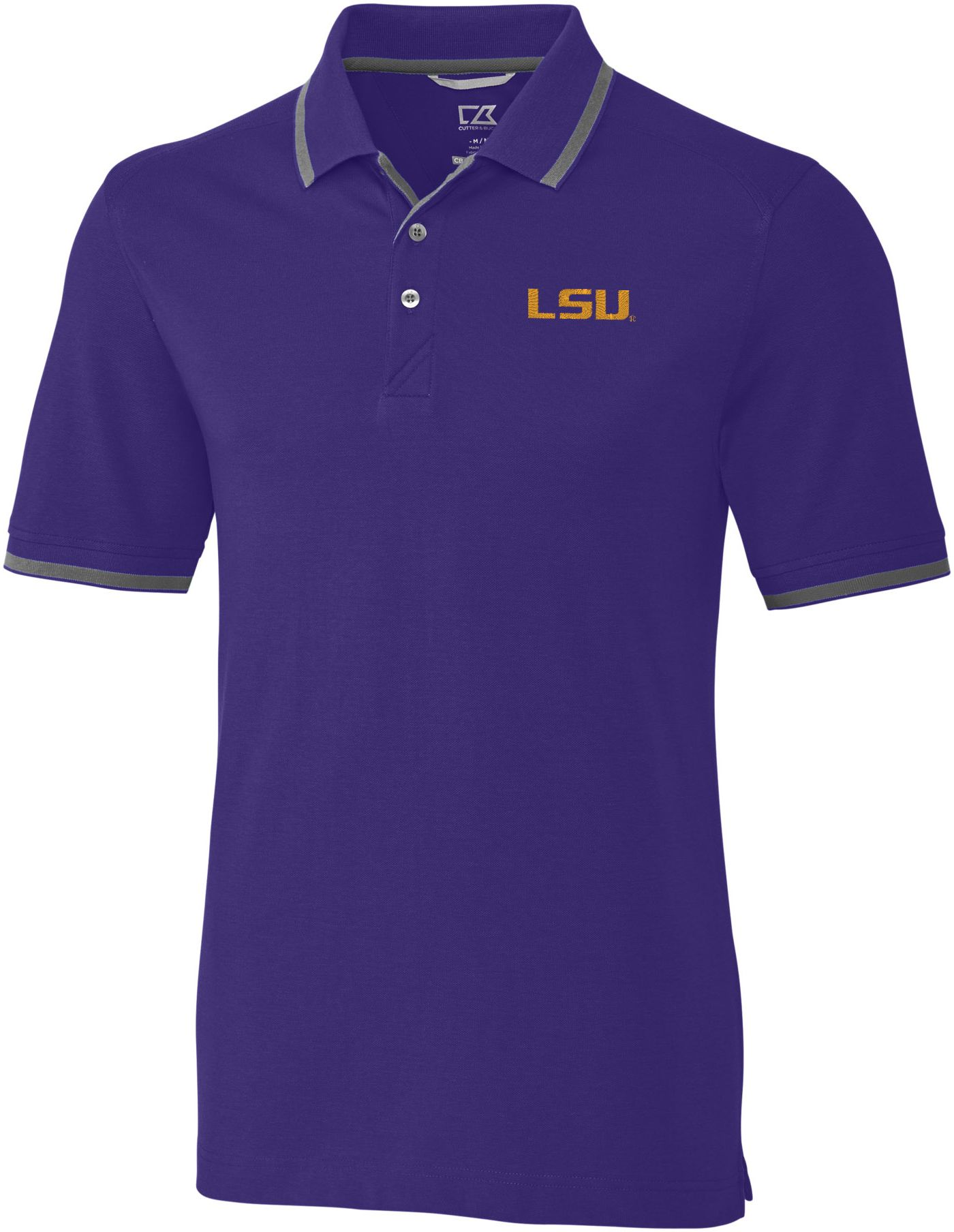 Cutter & Buck Men's LSU Tigers Purple Advantage Tipped Polo