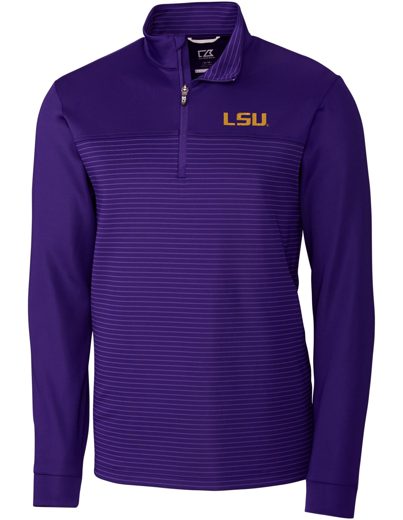 Cutter & Buck Men's LSU Tigers Purple Traverse Stripe Half-Zip Shirt