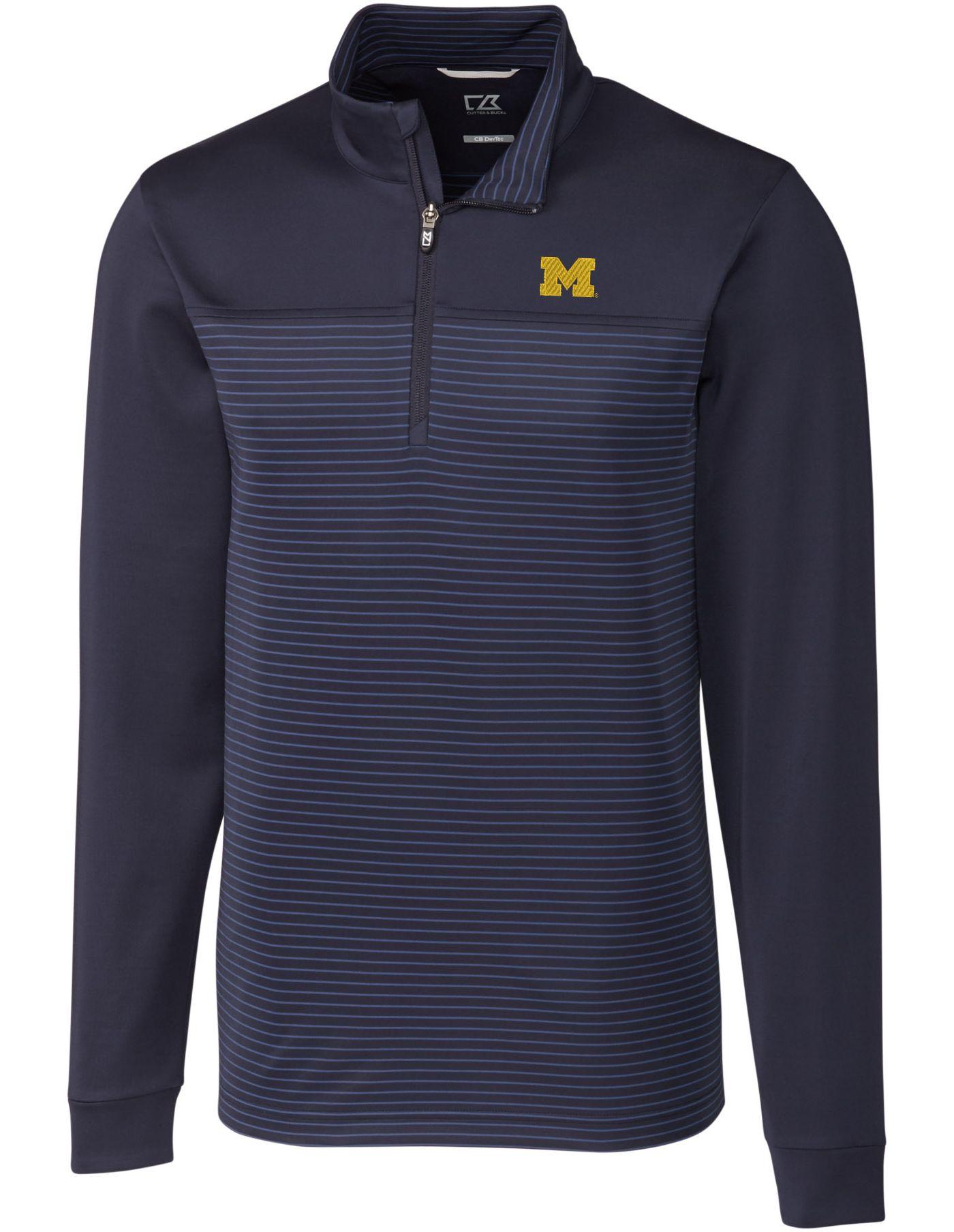 Cutter & Buck Men's Michigan Wolverines Blue Traverse Stripe Half-Zip Shirt