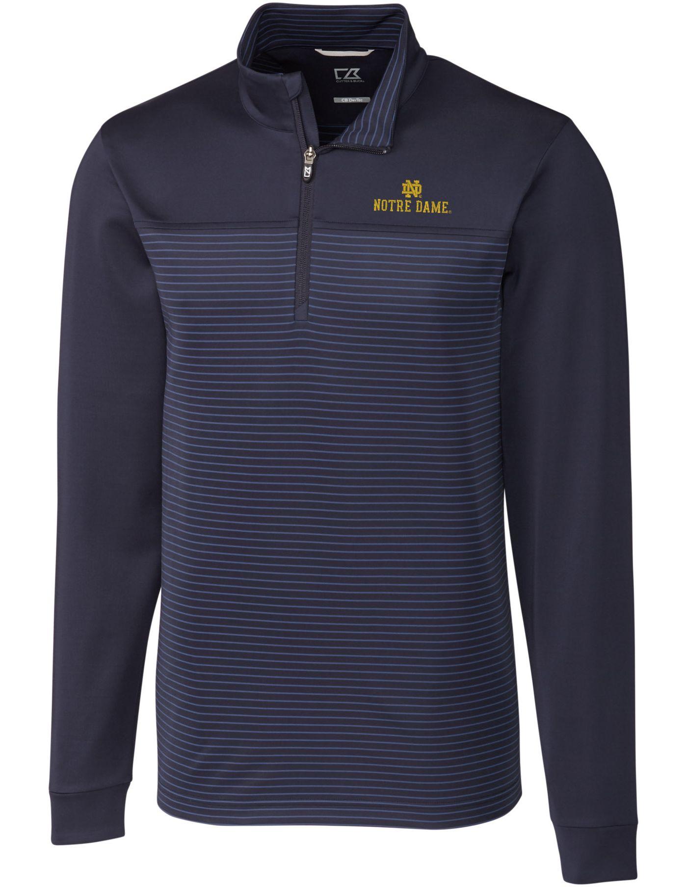 Cutter & Buck Men's Notre Dame Fighting Irish Navy Traverse Stripe Half-Zip Shirt