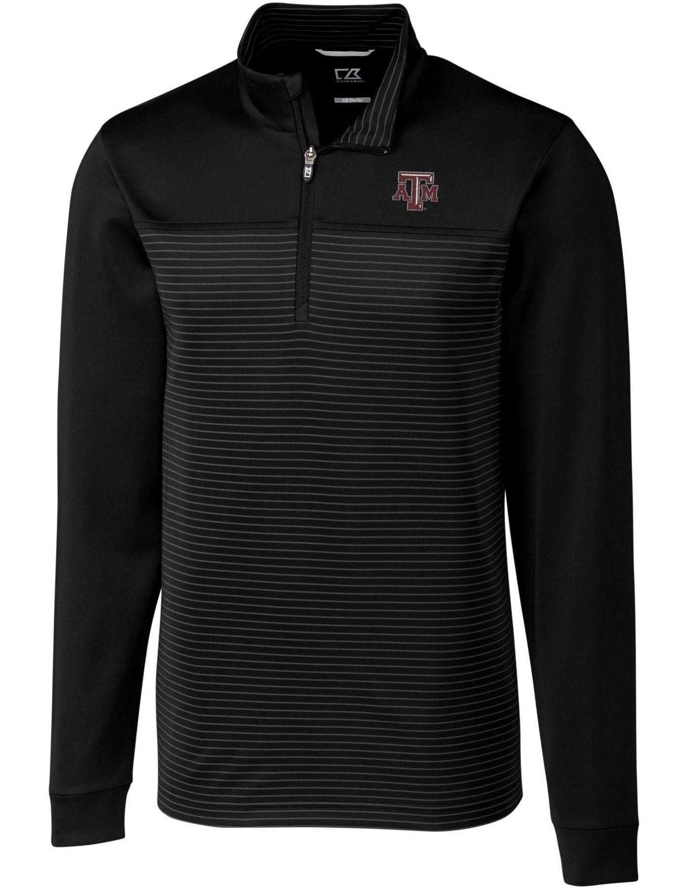 Cutter & Buck Men's Texas A&M Aggies Traverse Stripe Half-Zip Black Shirt