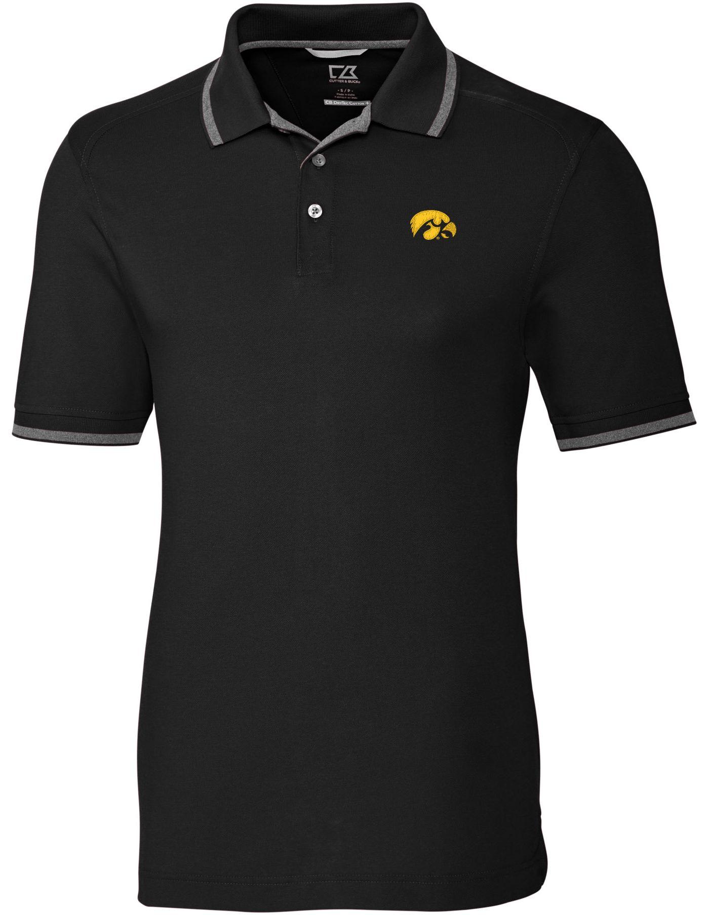 Cutter & Buck Men's Iowa Hawkeyes Advantage Tipped Black Polo