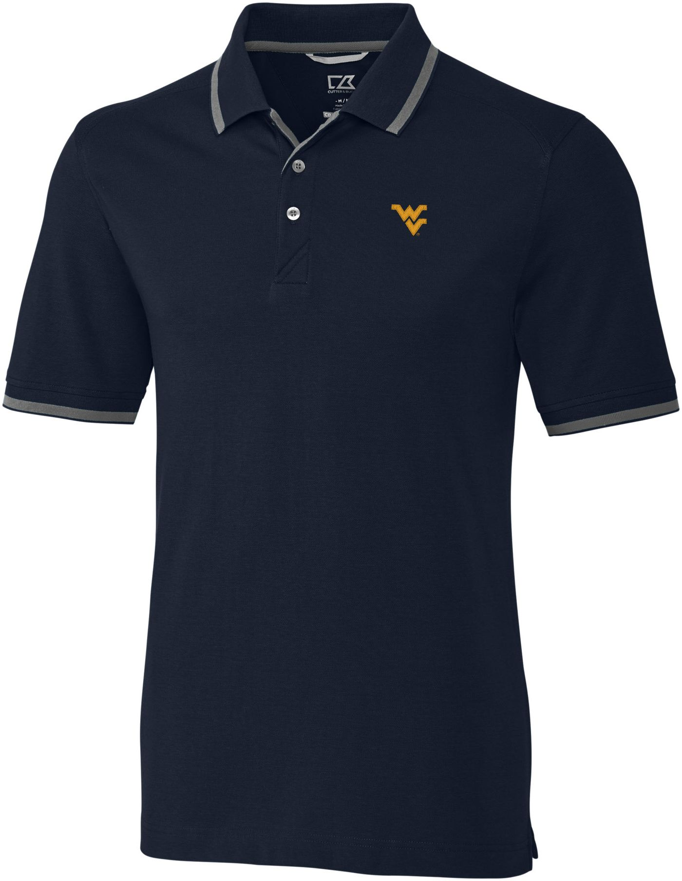 Cutter & Buck Men's West Virginia Mountaineers Navy Advantage Tipped Polo