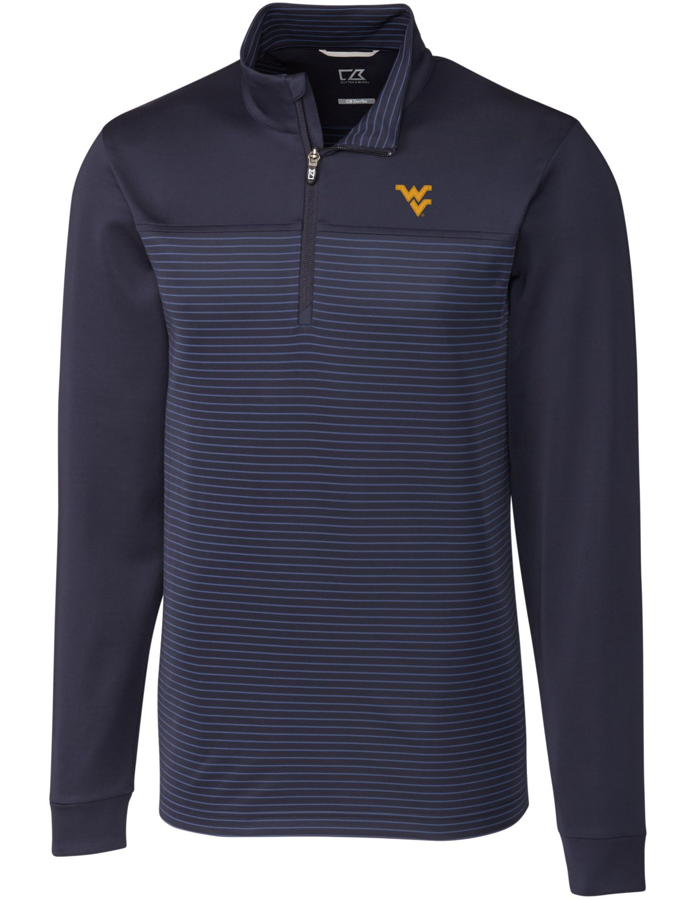 Cutter & Buck Men's West Virginia Mountaineers Blue Traverse Stripe Half-Zip Shirt