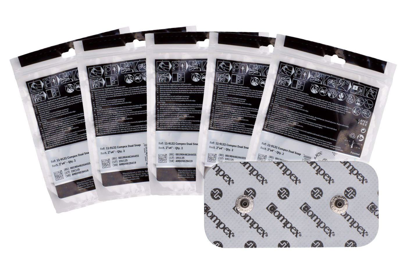 """Compex Performance Electrodes 2"""" x 4"""" Dual Snap Pads 5 Pack"""