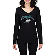 Concepts Sport Women's Philadelphia Eagles Marathon Black Long Sleeve Shirt