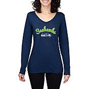 Concepts Sport Women's Seattle Seahawks Marathon Navy Long Sleeve Shirt