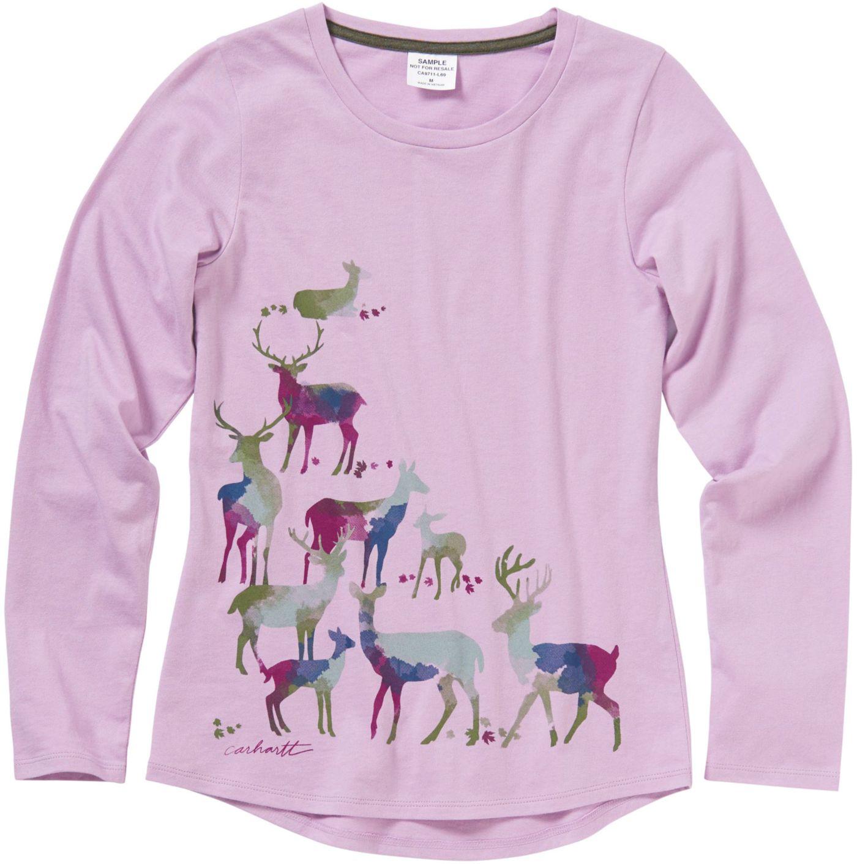 Carhartt Little Girls' Long Sleeve Water-Color Deer T-Shirt