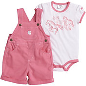Carhartt Infant Girls' 2-Piece Onesie and Canvas Shortall Set