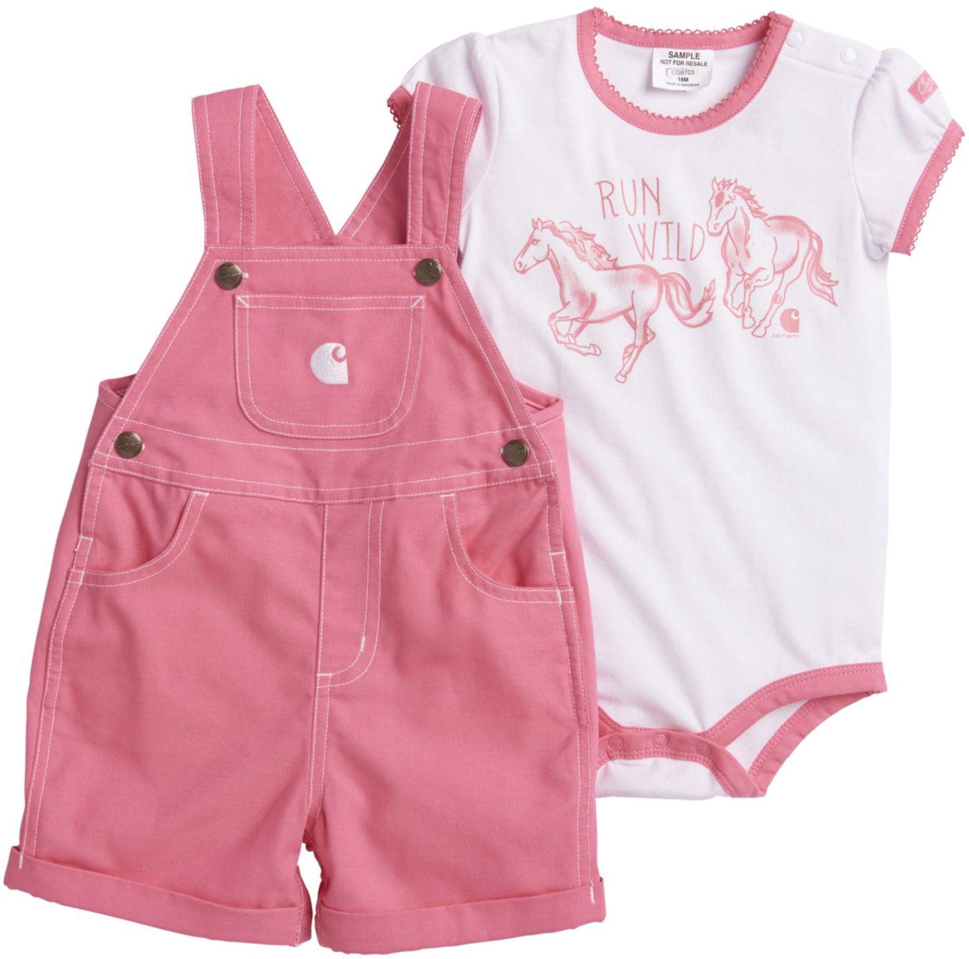 Carhartt Infant Girls' 2-Piece Onesie and Canvas Shortall Set