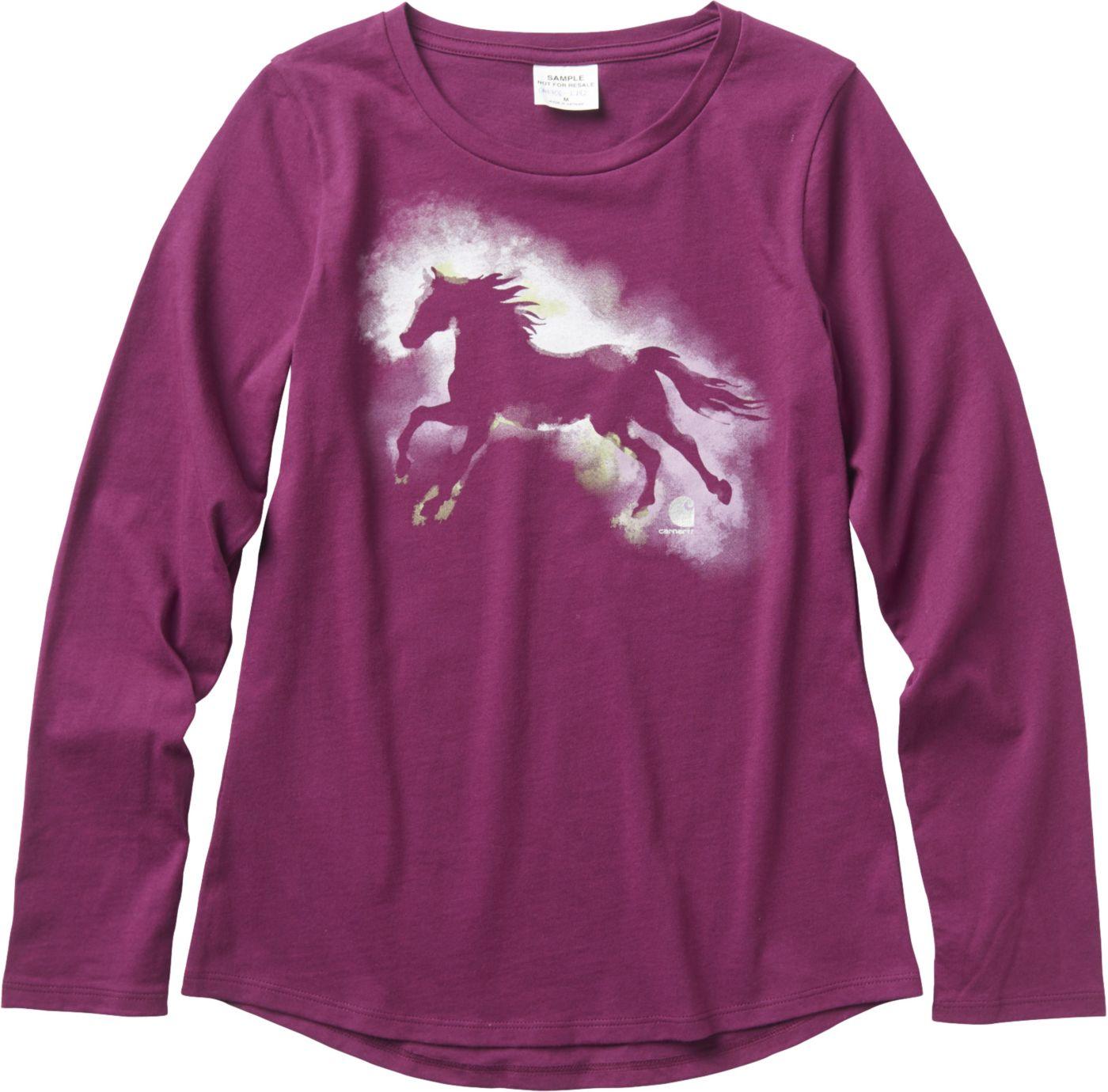 Carhartt Little Girls' Long Sleeve Water-Color Horse T-Shirt