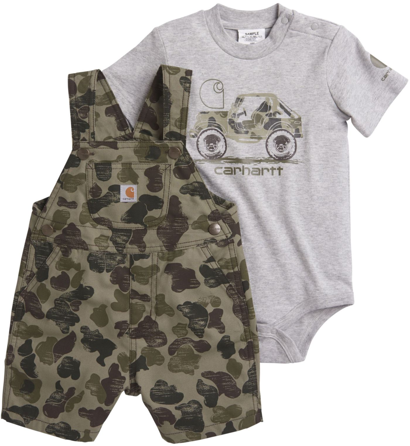 Carhartt Infant Boys' 2-Piece Onesie and Camo Shortall Set