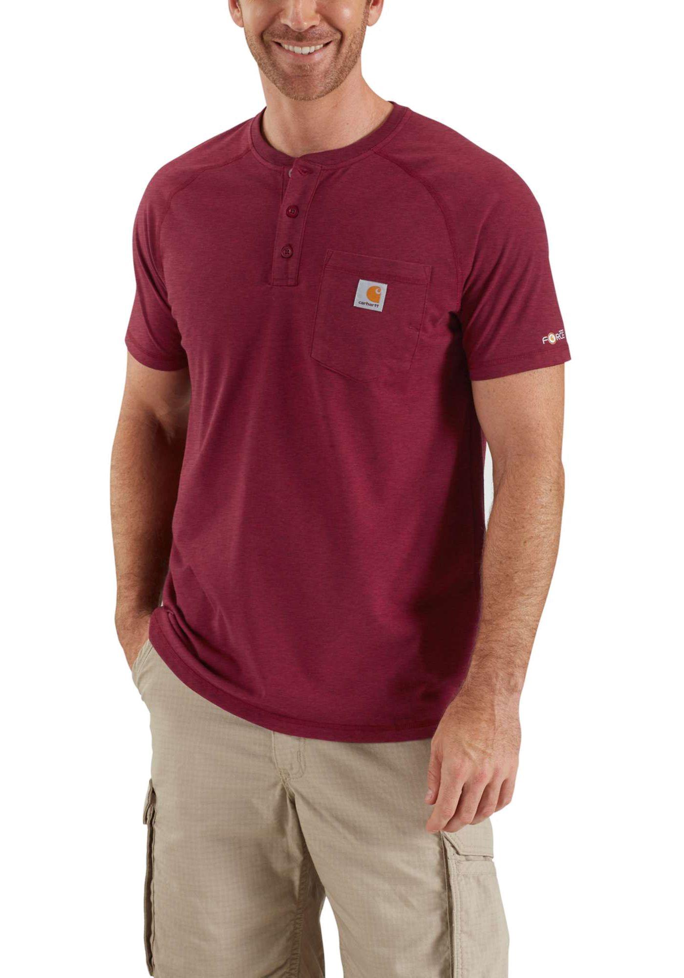 Carhartt Men's Force Cotton Delmont Short Sleeve Henley Shirt