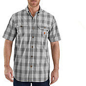 Carhartt Men's Plaid Force Ridgefield Short Sleeve Button Down Shirt