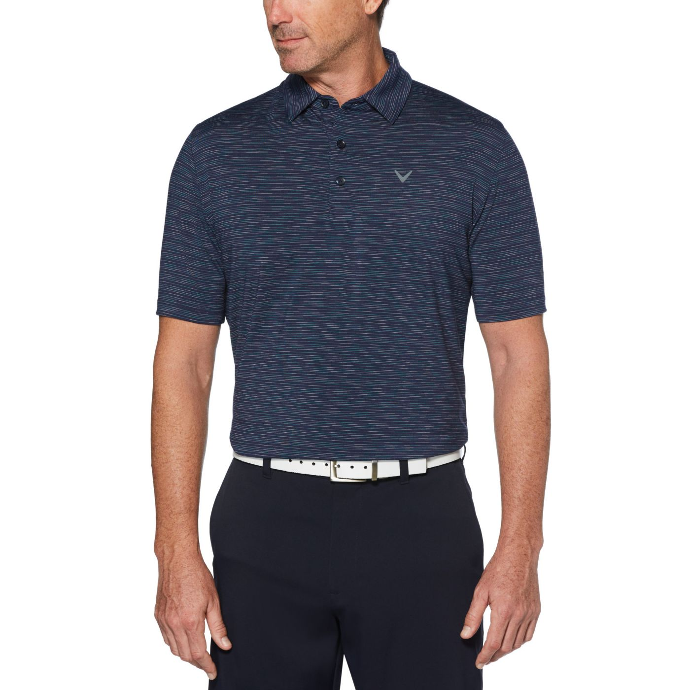 Callaway Men's Marled Texture Stripe Golf Polo