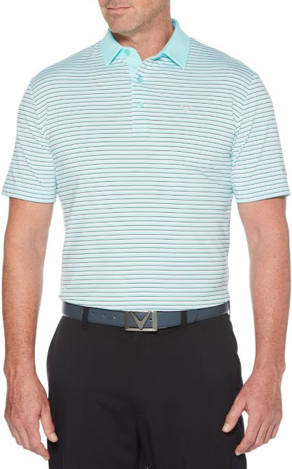 Callaway Men's Refined 3 Color Stripe Golf Polo