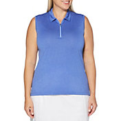 Callaway Women's Sleeveless ¼ Zip Heather Golf Polo - Extended Sizes