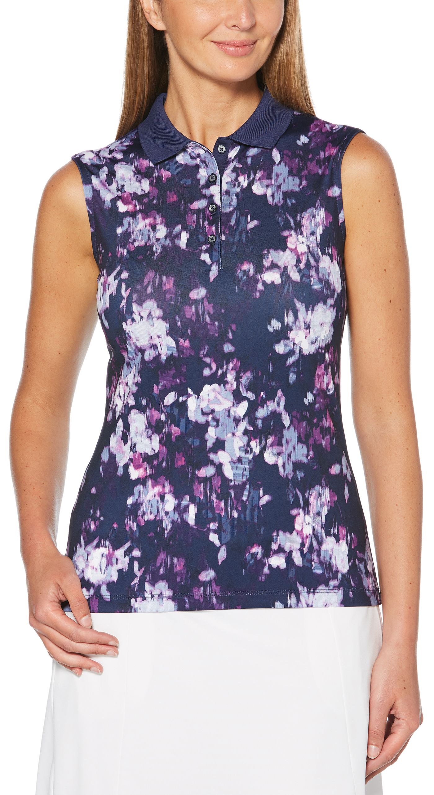 Callaway Women's Ventilated Floral Print Sleeveless Golf Polo - Extended Sizes