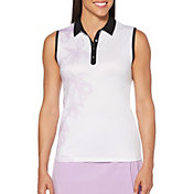 Callaway Women's Floral Print Sleeveless Golf Polo
