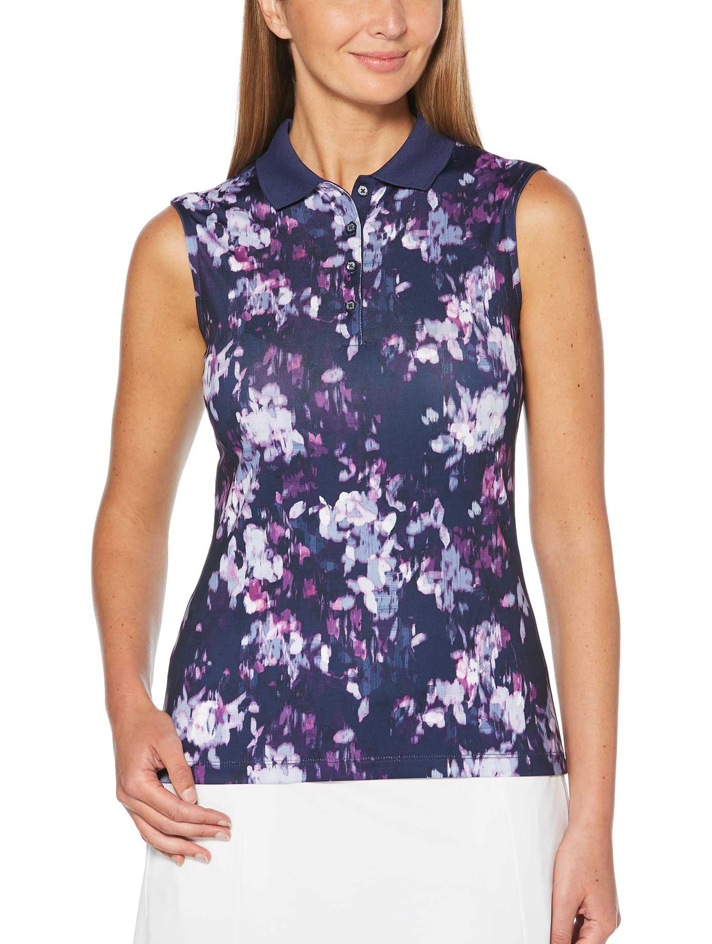 Callaway Women's Ventilated Floral Print Sleeveless Golf Polo