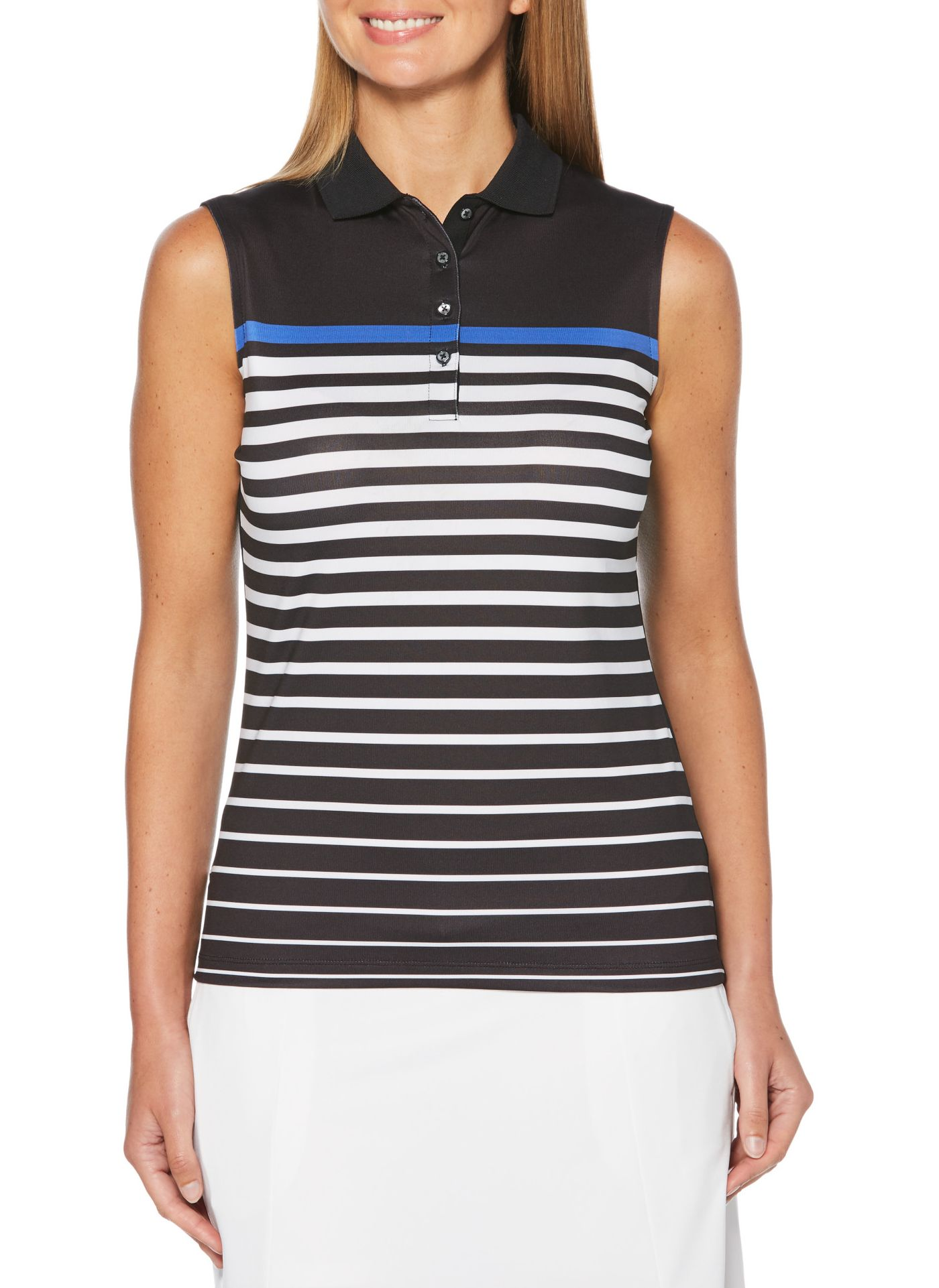 Callaway Women's Fast Track Sleeveless Stripe Golf Polo