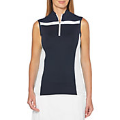 Callaway Women's Color Block ¼-Zip Mock Sleeveless Golf Polo