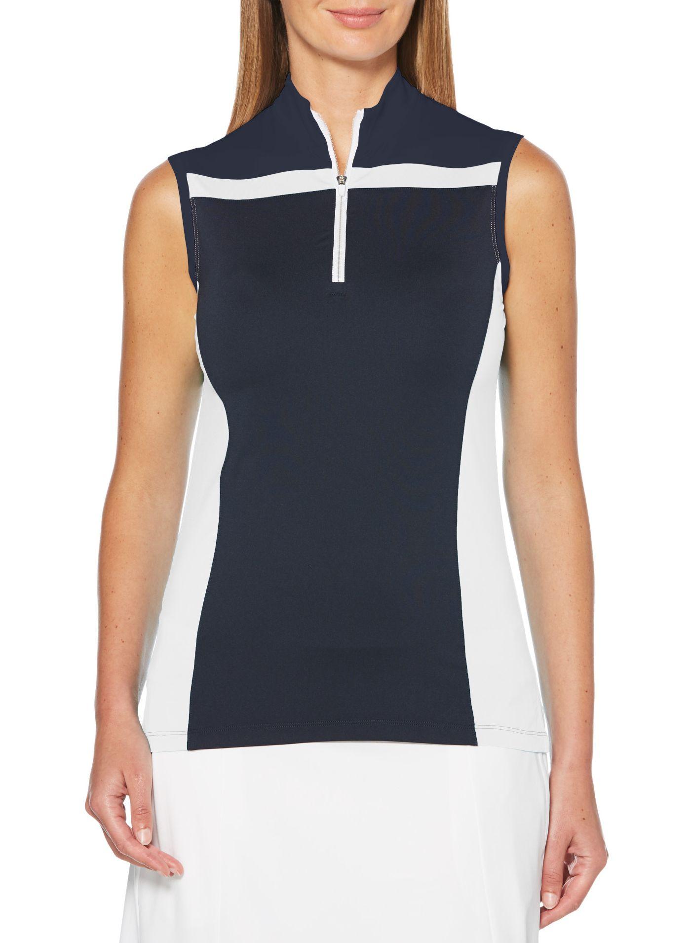 Callaway Women's Color Block ¼-Zip Mock Sleeveless Golf Polo