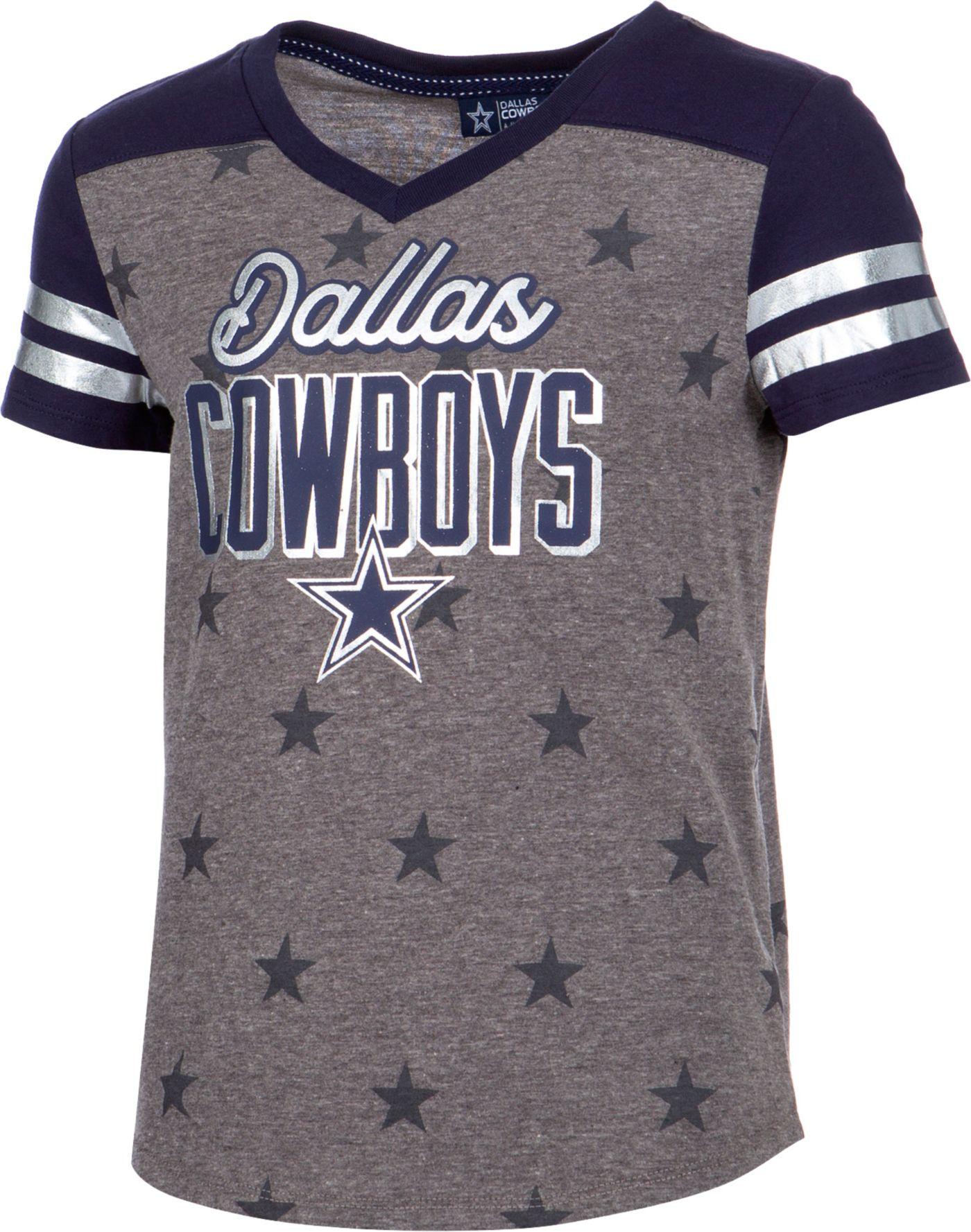 Dallas Cowboys Merchandising Girls' Stars Grey T-Shirt