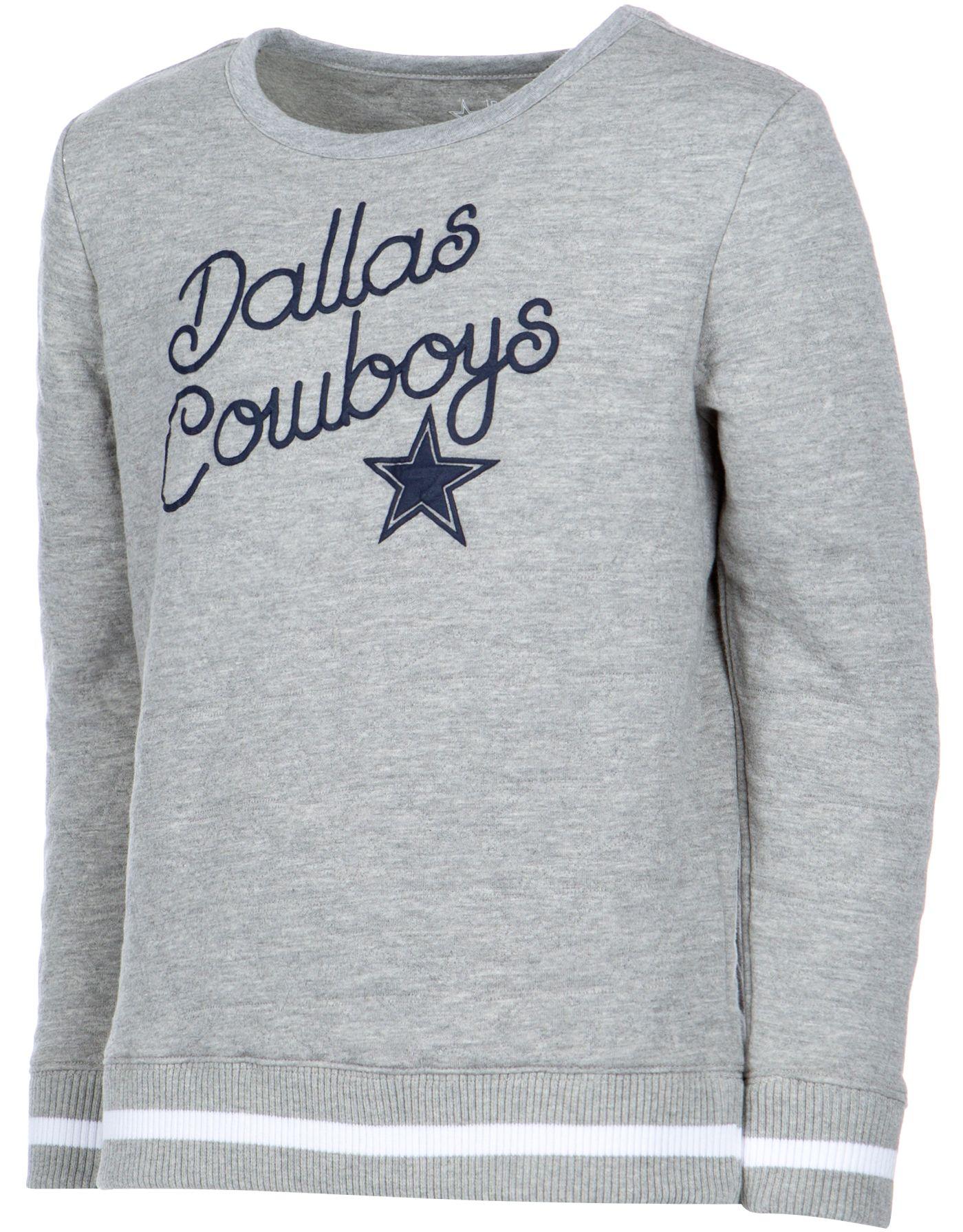Dallas Cowboys Merchandising Girls' Star Quilted Crew