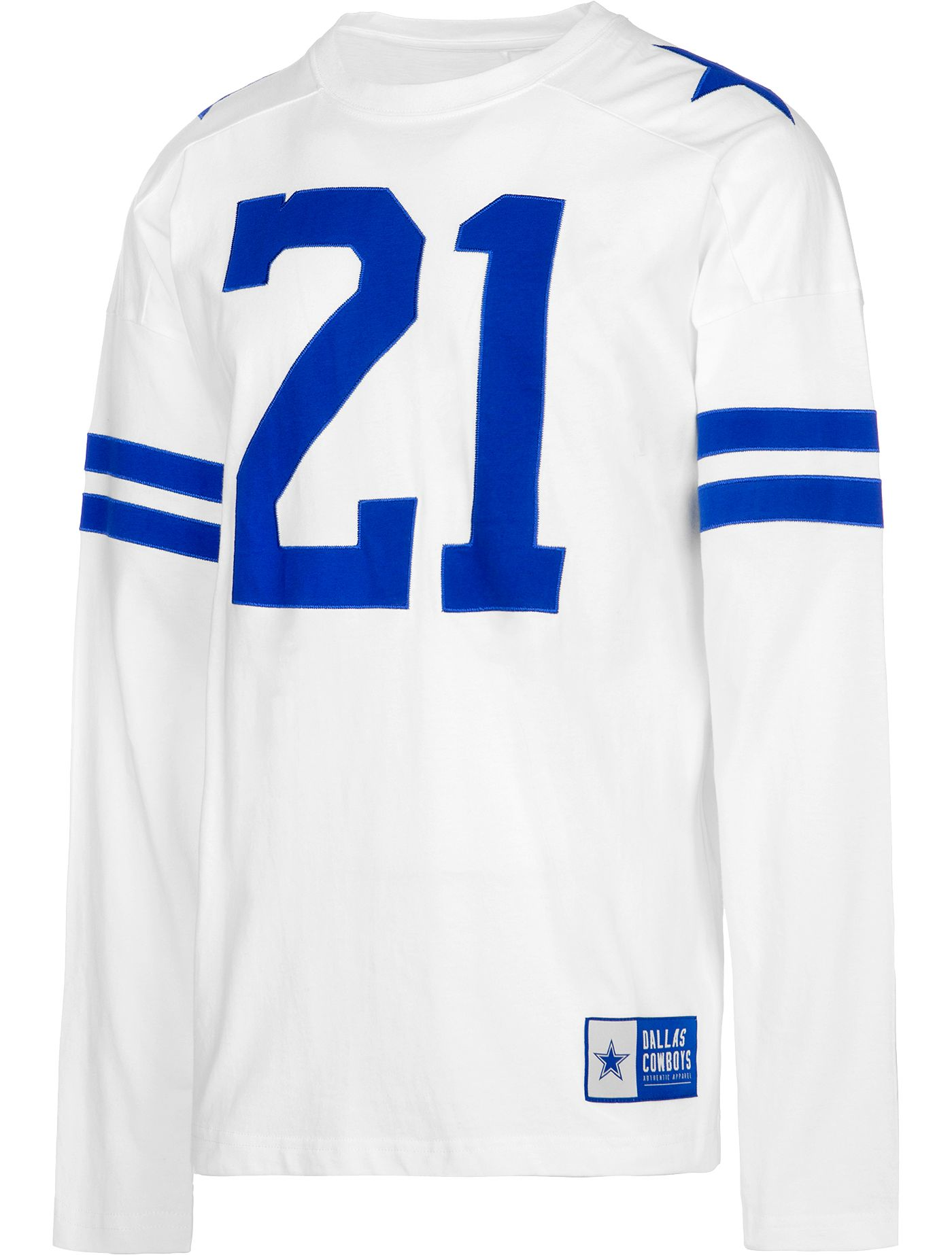 Dallas Cowboys Merchandising Men's Ezekiel Elliott #21 Retro Long Sleeve White Shirt