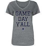 Dallas Cowboys Merchandising Women's Game Day Y'all Grey V-Neck T-Shirt