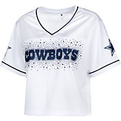 Dallas Cowboys Merchandising Women's Rhinestone Crop Top White Jersey