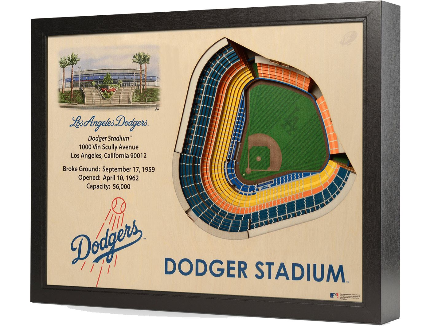 You the Fan Los Angeles Dodgers 25-Layer StadiumViews 3D Wall Art