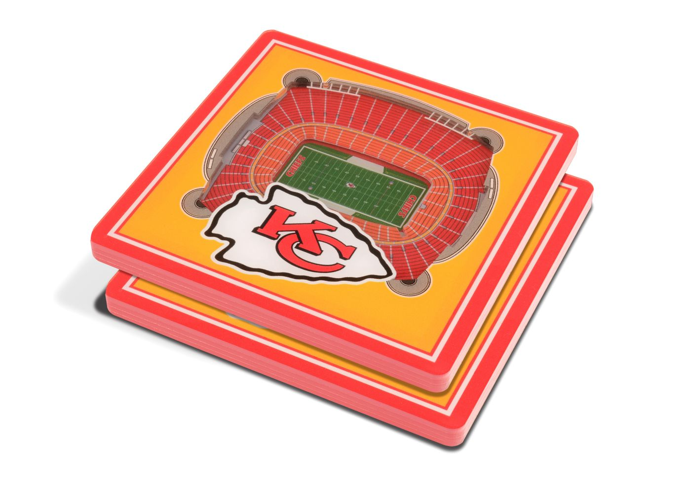 You the Fan Kansas City Chiefs 3D Stadium Views Coaster Set