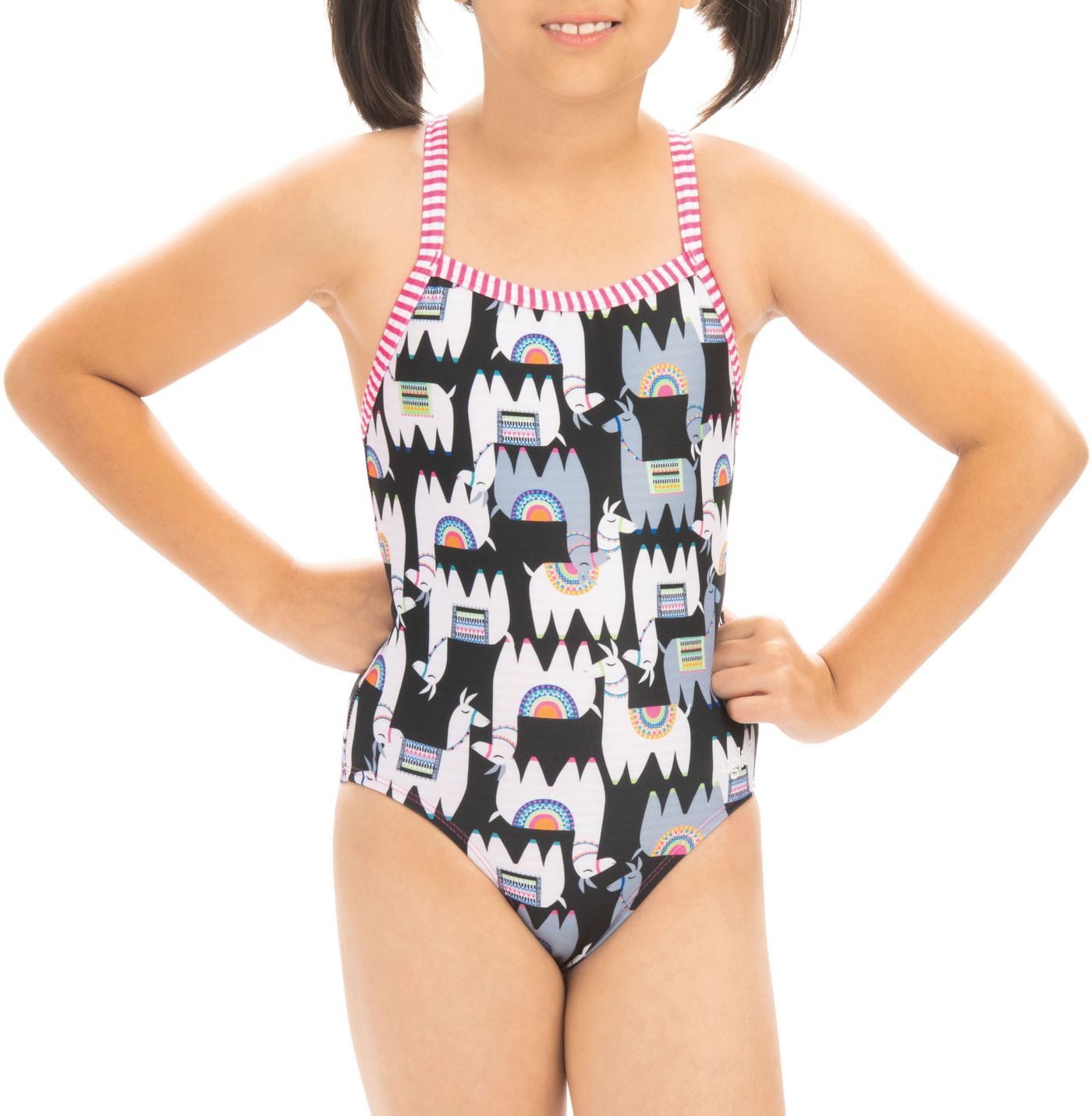 Dolfin Girls' Alpaca Print One Piece Swimsuit