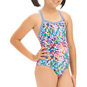 Dolfin Girls' Shimmer Print One Piece Swimsuit