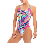 Dolfin Women's Uglies Print Double Strap Open Keyhole Back One Piece Swimsuit