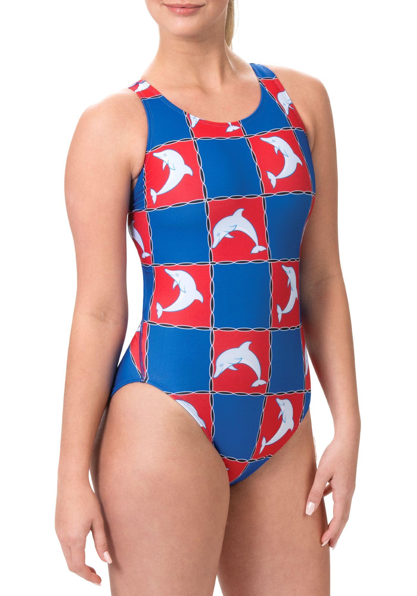Dolfin Women's Print Keyhole Back One Piece Swimsuit
