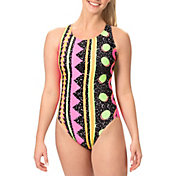 Dolfin Women's Print Keyhole Back One Piece Swimsuit
