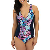 Dolfin Women's Aquashape V-Neck Front Panel One Piece Swimsuit