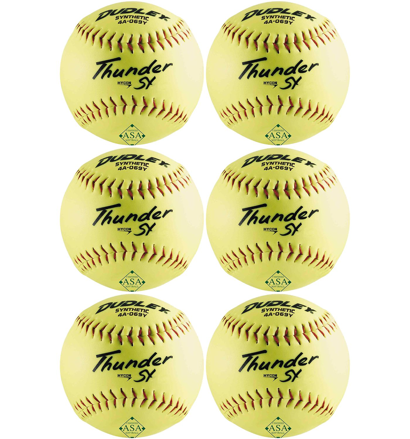 """Dudley 12"""" ASA Thunder SY Slow Pitch Softballs - 6 Pack"""