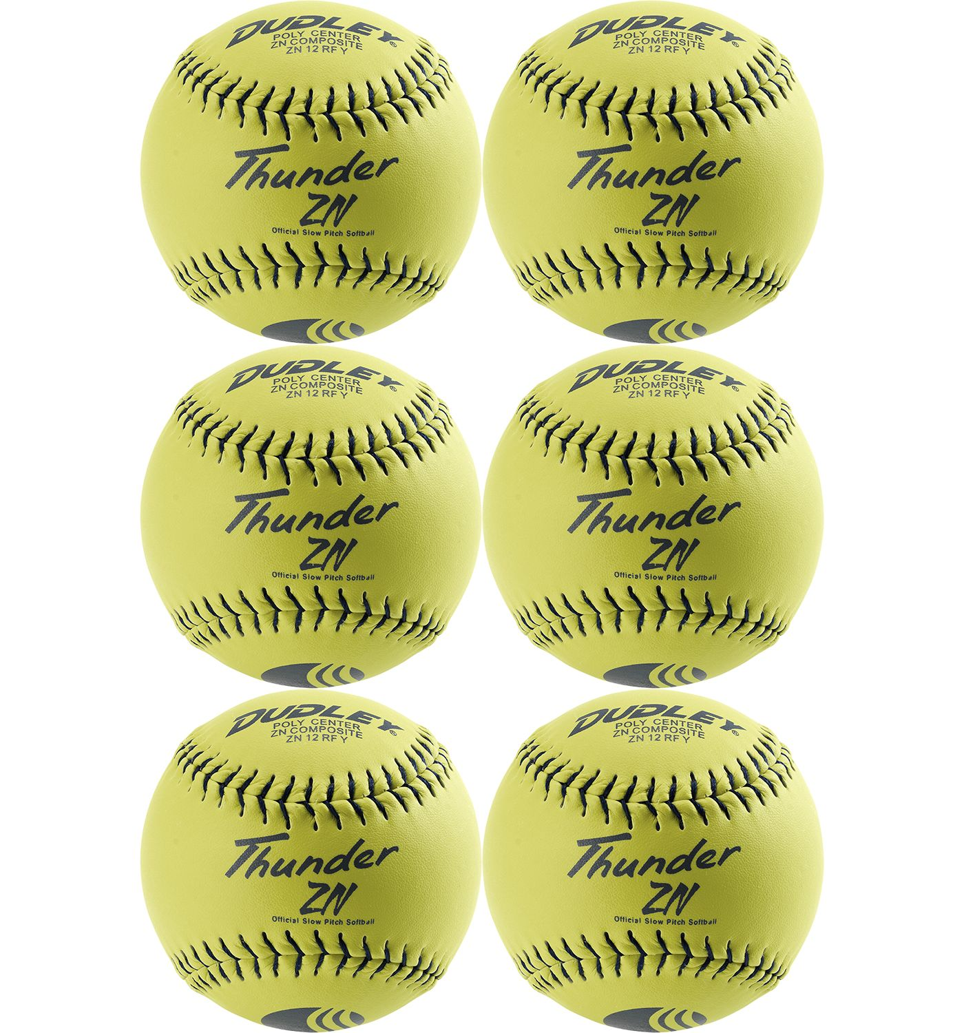 """Dudley 12"""" USSSA Thunder ZN Slow Pitch Softballs - 6 Pack"""