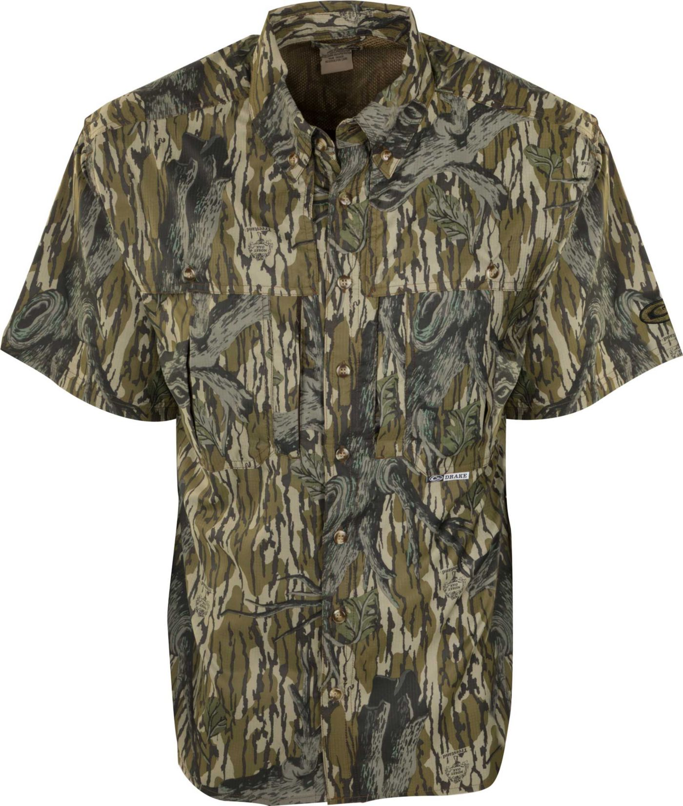 Drake Waterfowl Men's Camo Flyweight Wingshooter's Short Sleeve Hunting Shirt