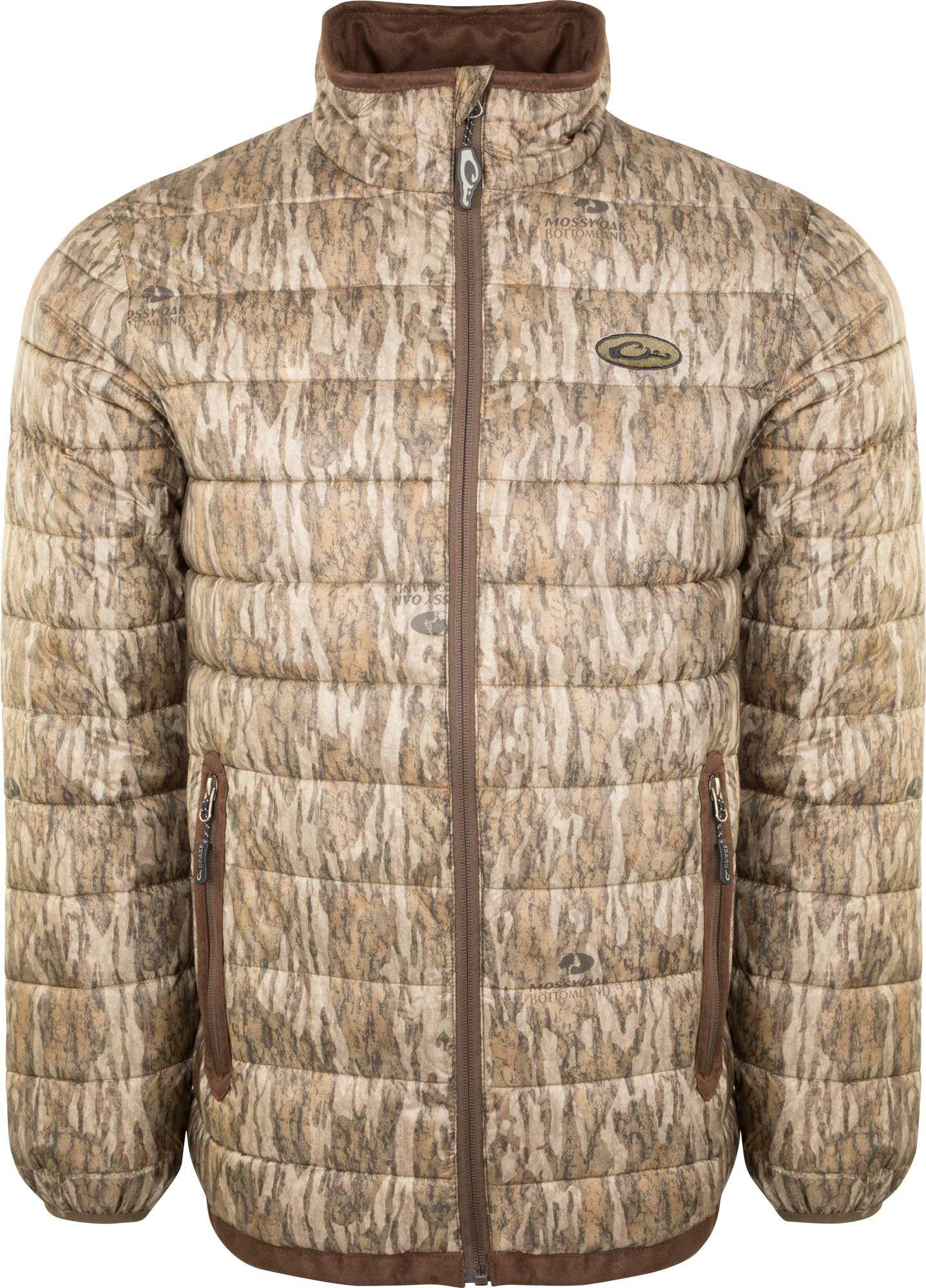 Drake Waterfowl Men's Camo Double Down Layering Full Zip Hunting Jacket, Size: Small, Mossy Oak Bottomland