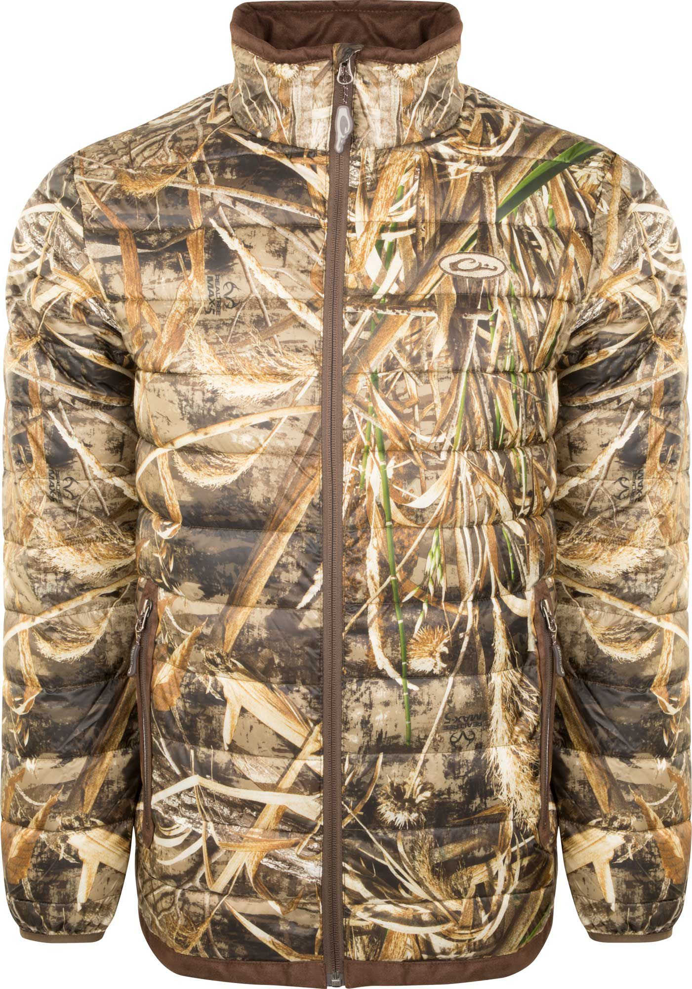 Drake Waterfowl Men's Camo Double Down Layering Full Zip Hunting Jacket, Size: Small, Green