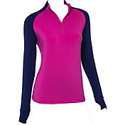 69795fa03b05cf EP Pro Women's Long Sleeve Color Block Mock Golf Polo