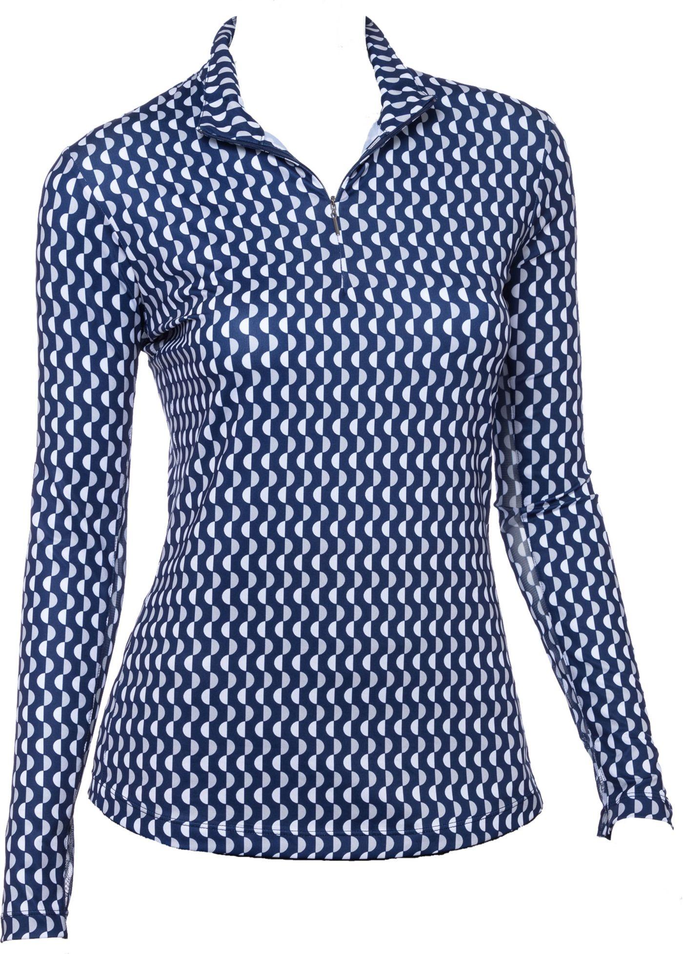 EP Pro Women's Long Sleeve Dot Print Mock Golf Polo